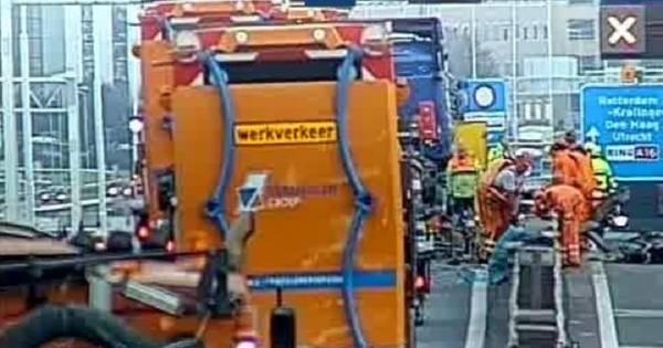 A16 dicht richting Rotterdam door ongeluk vrachtwagen: elf kilometer file.