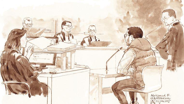 Mohamed B. in de rechtszaal. Beeld anp