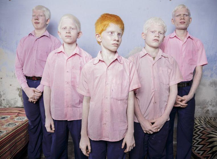 Eerste prijs Mensen<br /><br />Een groepje blinde albino-jongens op een school voor blinde kinderen in West India. Beeld Brent Stirton
