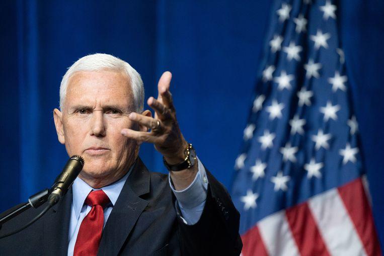 Mike Pence kroop in de pen over president Biden en de situatie in Afghanistan. Beeld Getty Images
