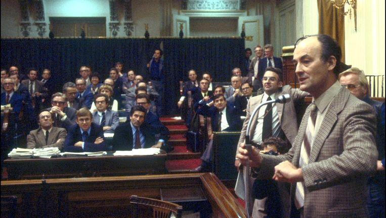 CDA-fractieleider Willem Aantjes in 1978 in debat over de regeringsnota Bestek '81. Beeld ANP