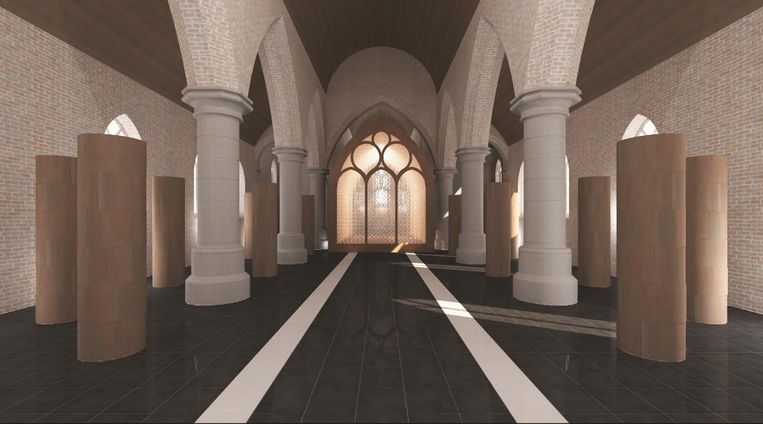 Dit is een voorlopig beeld van hoe de houten pilaren voor de urnen eruit kunnen zien in de kerk van Lampernisse.