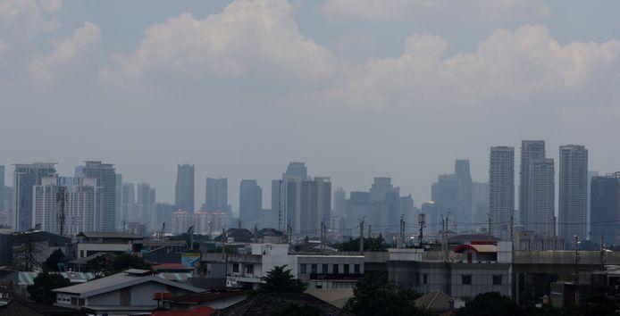 Vue générale de la pollution atmosphérique à Jakarta, en Indonésie, le 16 septembre 2021.