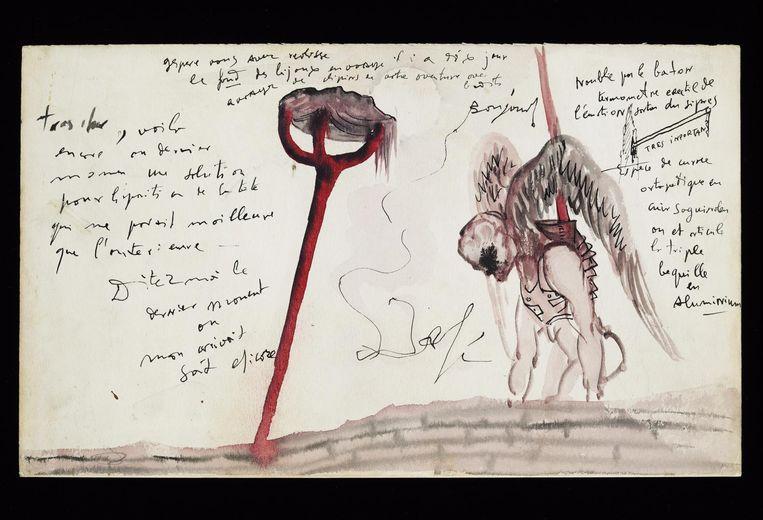 Een kostuumontwerp door Salvador Dali. Beeld Salvador Dali, Fundació Gala-Salvador Dalí