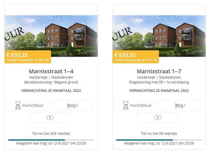 Op de website Hurennoordveluwe.nl staan nog vijf appartementen aan de Marnixstraat in de verhuur. In totaal zijn er al bijna 700 reacties binnen.