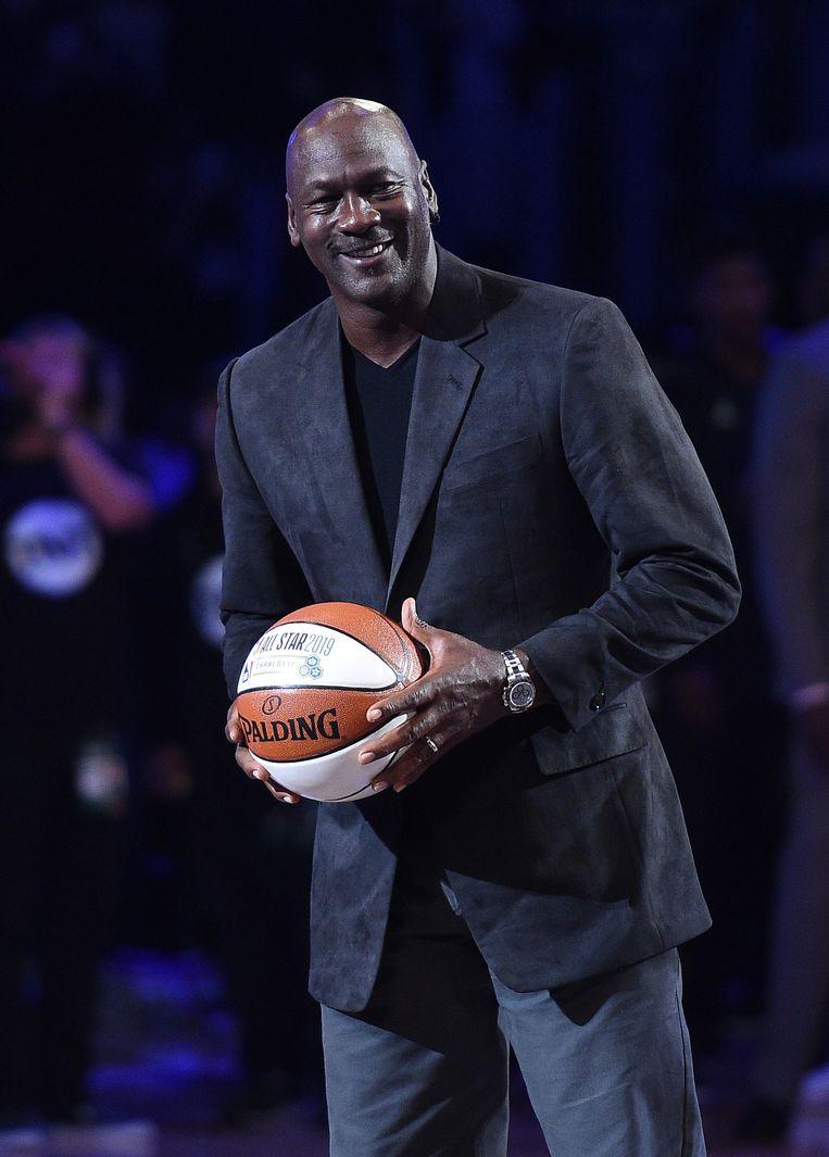 Michael Jordan bij de NBA All-Star Game dit jaar. Beeld AFP