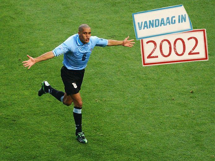 Darío Rodríguez viert zijn wereldgoal.