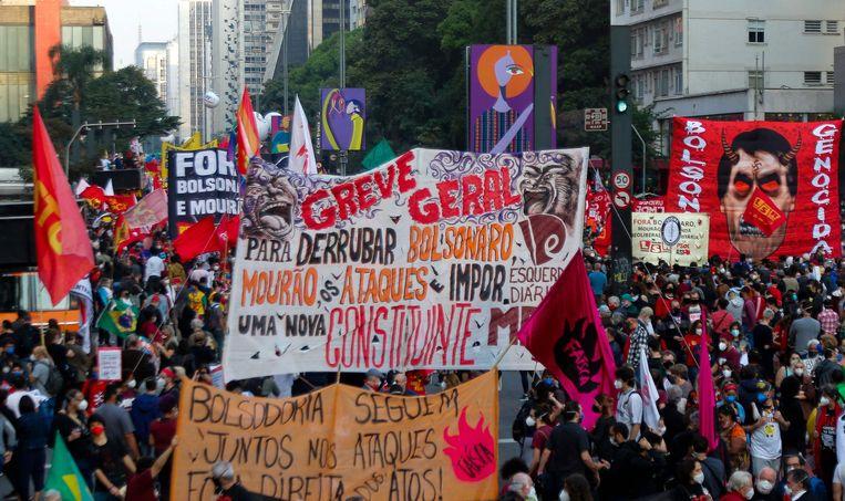 Een massademonstratie tegen Bolsonaro in metropool Sao Paulo. Beeld AFP