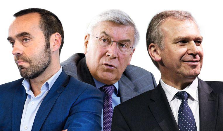 Bruno Tobback (sp.a), Etienne Schouppe en Yves Leterme (CD&V). Beeld DM