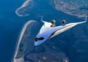 Impressie van de Flying V die de TU Delft samen met KLM ontwikkelt.
