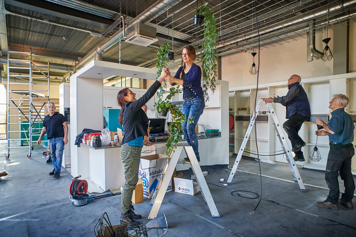 De nieuwbouw van Buro Lima te Heeswijk Dinther is bijna klaar. In de centrale woonruimte van woonhuis 3 zijn Lianne van Genugten (links) en Marleen Maas bezig met het ophangen van planten. Vrijwilligers helpen met het ophangen van lampen.