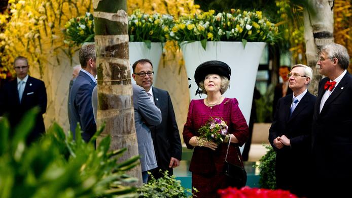 Koningin Beatrix tijdens de opening van de Floriade in Venlo.