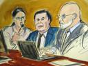 """Joaquin """"El Chapo"""" Guzman, geflankeerd door een tolk en zijn advocaat Eduardo Balarezo."""
