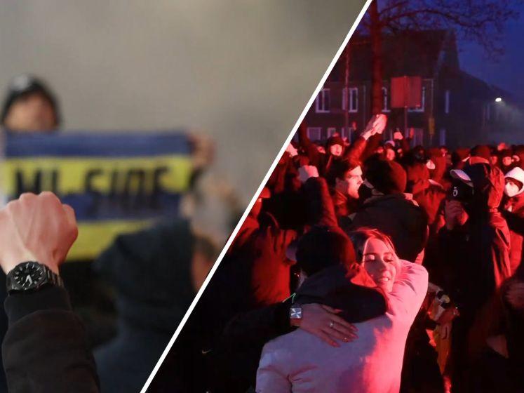 Supporters Cambuur Leeuwarden vieren groot feest na officieuze promotie