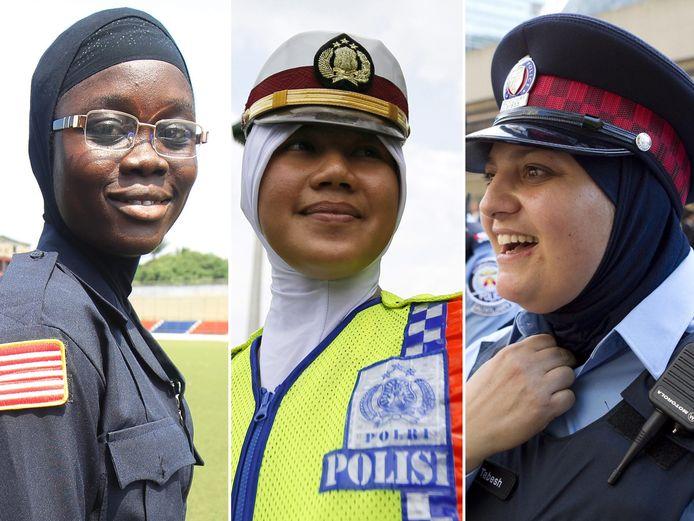 In andere landen is het volstrekt normaal dat agenten een hoofddoekje dragen. Op de foto hierboven agentes uit Liberië (l), Indonesië (m) en Canada (r).