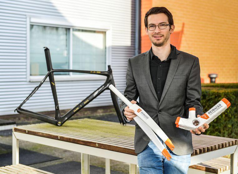 KUL-onderzoeker Michael Callens heeft een nieuw fietsframe ontworpen.