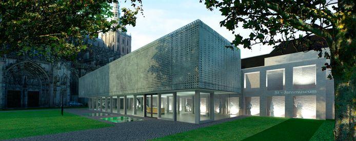 Schets van het nieuwe Sint-Jansmuseum aan de zijde van de Hinthamerstraat, zoals vorig jaar gepresenteerd.