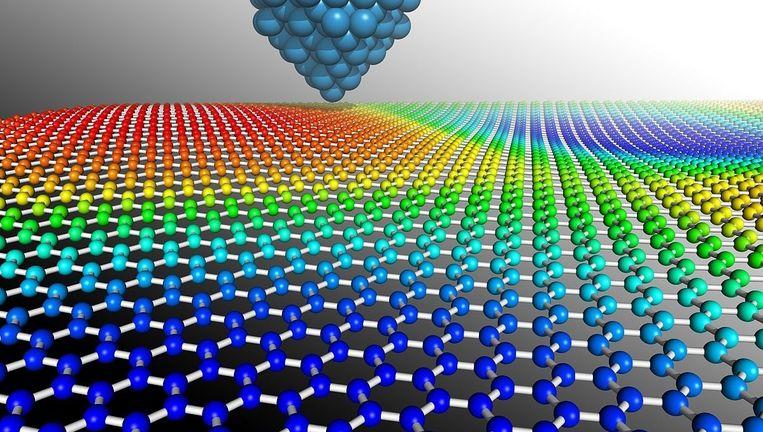 Grafeen, koolstofatomen in een laag van één atoom dik, moet voor heel veel toepassingen geschikt zijn, onder meer voor energieopslag. Beeld Calvin Davidson, Sussex University
