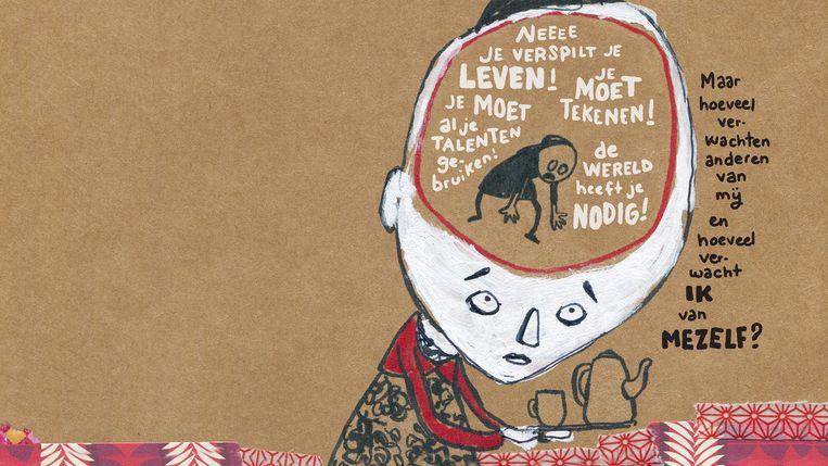 Tekening uit 'Burn-out dagboek' van Maaike Hartjes. Beeld © Maaike Hartjes
