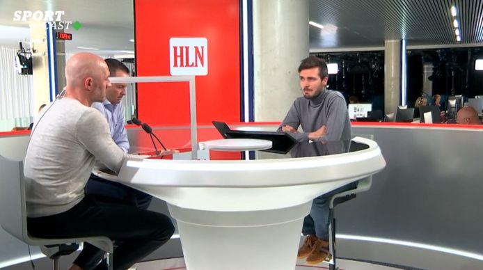 Het panel in HLN SPORTCAST: Jelle Van Damme, Gilles De Bilde en gastheer Jonas Decleer.