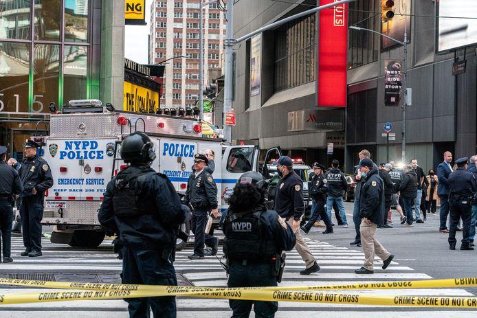 Politie op Times Square na de schietpartij afgelopen weekend.
