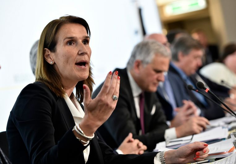Begrotingsminister Sophie Wilmès (MR) reageert voorlopig niet. Beeld Photo News