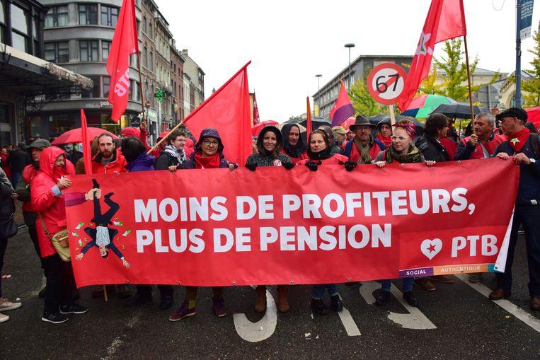 Vakbondsbetoging in Namen. Beeld BELGA