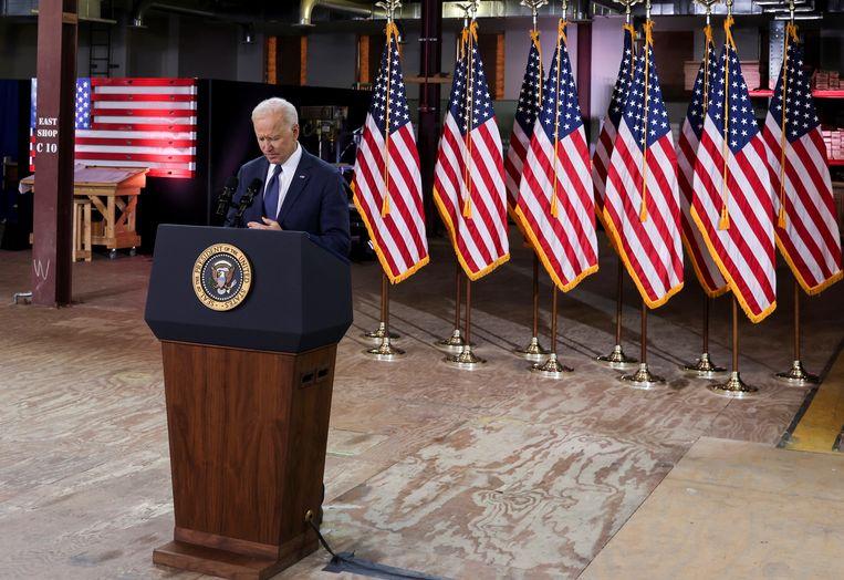 President Joe Biden presenteert zijn 'American Jobs Plan'.  Beeld REUTERS