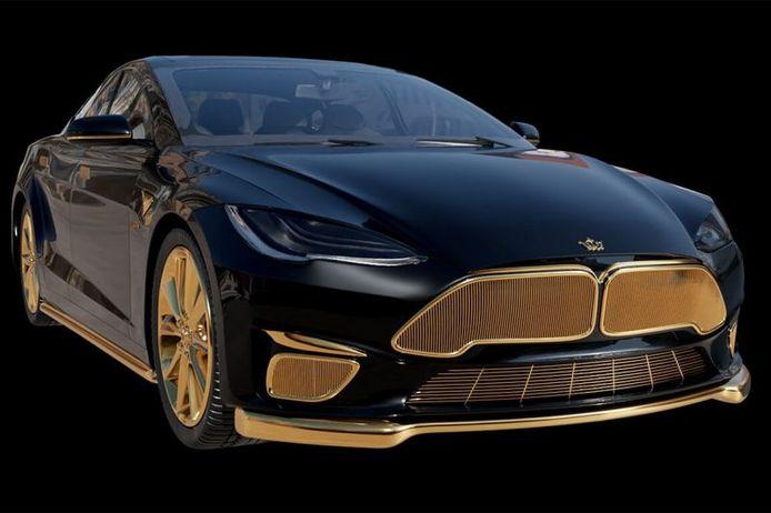 De Tesla Model S van Caviar is rijkelijk van goud voorzien.