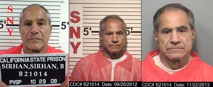 Sirhan Sirhan, de man die tot levenslang veroordeeld werd voor de moord op Kennedy. Links op een foto uit 2009, in het midden in 2012 en rechts in 2013.
