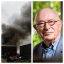 Links: grote rookpluimen in Vroomshoop. Rechts: Bert Woudstra.