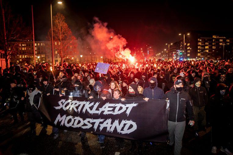 Demonstranten in Kopenhagen op 23 januari 2021. Beeld EPA