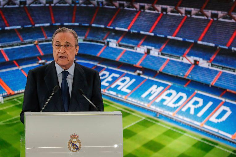Florentino Pérez, de voorzitter van Real Madrid en de Super League. Beeld AP