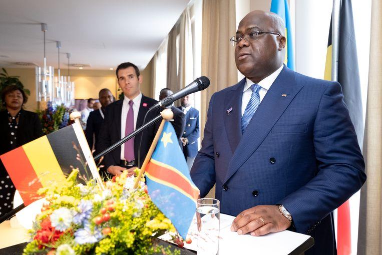 Archiefbeeld: president  Félix Tshisekedi tijdens zijn bezoek aan de Antwerpse diamantsector in september vorig jaar. Beeld David Legreve
