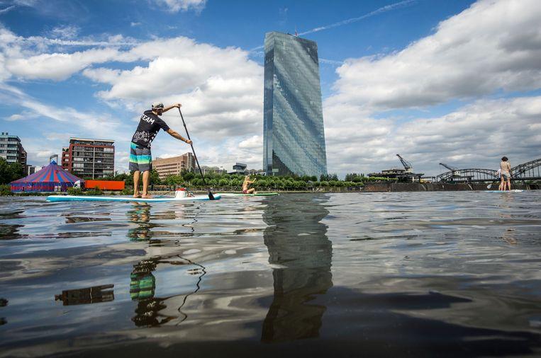 Een watersporter peddelt voorbij het ECB-hoofdkwartier in Frankfurt.  Beeld Frank Rumpenhorst/picture-alliance/dpa/AP Images