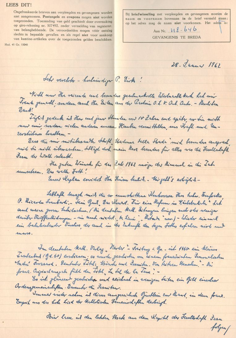 De brief van Willy Lages aan Franciscus Xaverius Dirks. Beeld TR Beeld