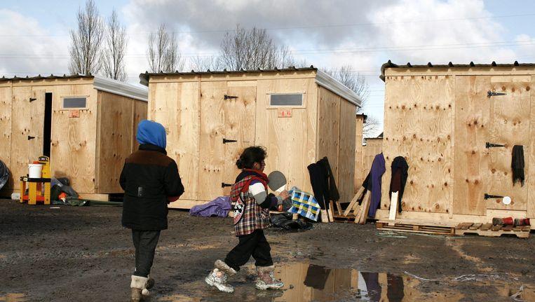 Vluchtelingenkamp Grande-Synthe in Duinkerken. Naar dit kamp zal het vluchtelingenkamp in Parijs gemodelleerd worden. Beeld epa
