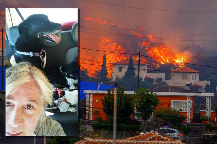 Lavastromen bedreigen een huis op La Palma. Inzet: Jacqueline Bouwman had net de honden van vrienden in de auto geladen toen de vulkaan uitbarstte.