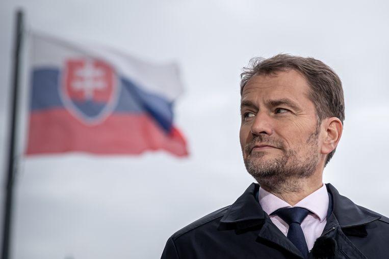 De Slowaakse premier Igor Matovic. In het Centraal-Europese land is de zaak-Chovanec al wekenlang voorpaginanieuws. Beeld EPA
