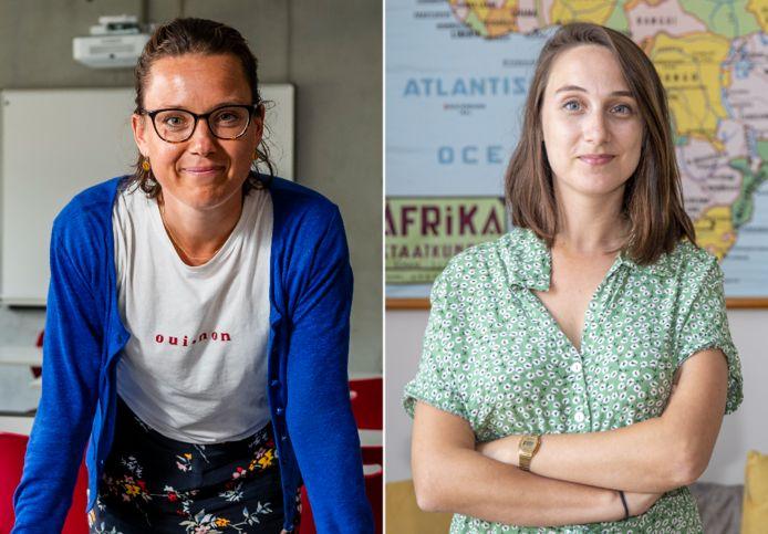 Directrice Astrid De Groeve (links) is nog op zoek naar 19 leerkrachten voor haar school in Mechelen, lerares Annabel Van den Broucke (rechts) zet zich schrap voor een pittig schooljaar in Molenbeek.
