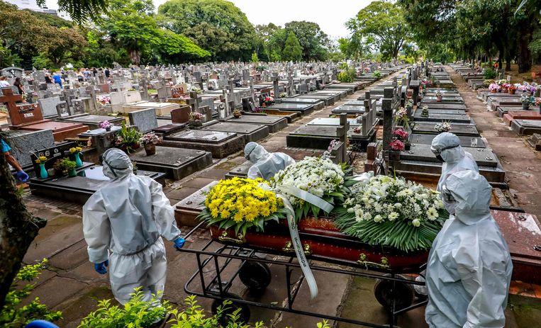 Een covidslachtoffer wordt ten grave gedragen in Porto Alegre, Brazilië. Beeld AFP