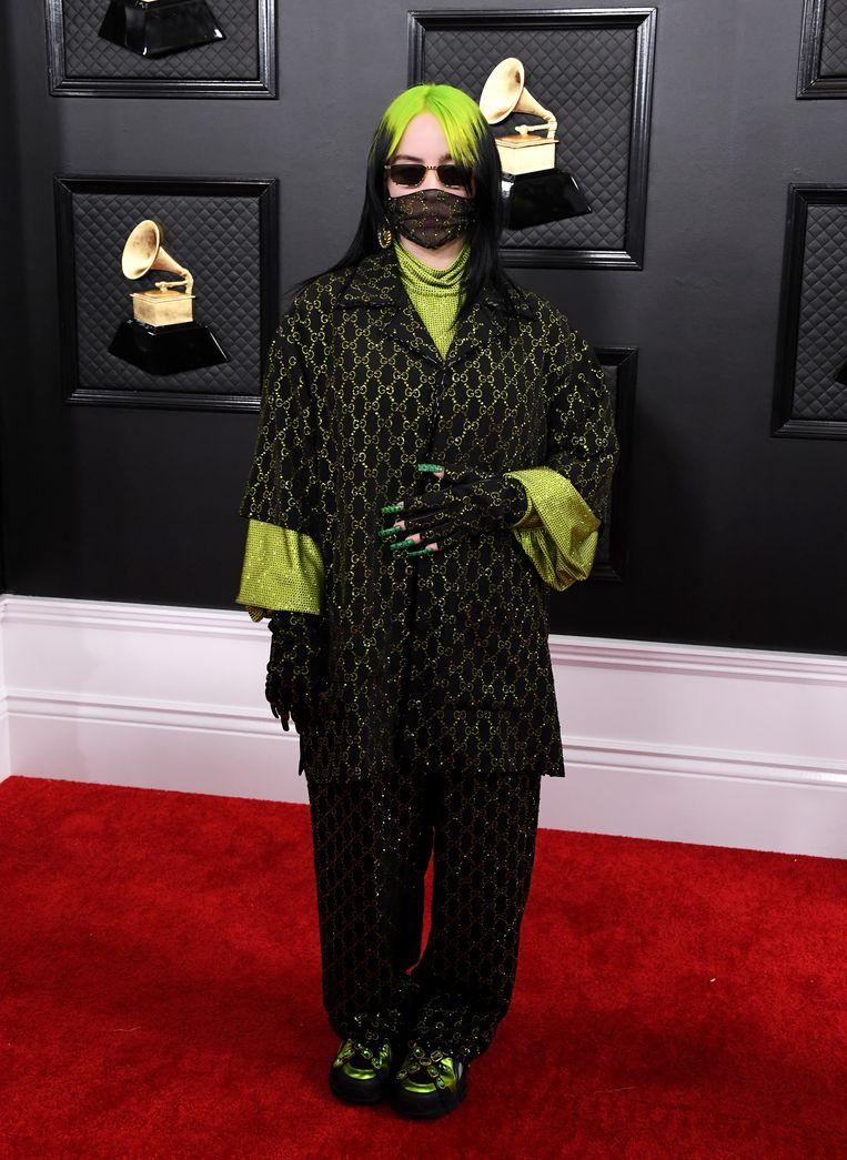 Billie Eilish bij de uitreiking van de Grammy Awards, 26 januari 2020, in Los Angeles.  Beeld FilmMagic