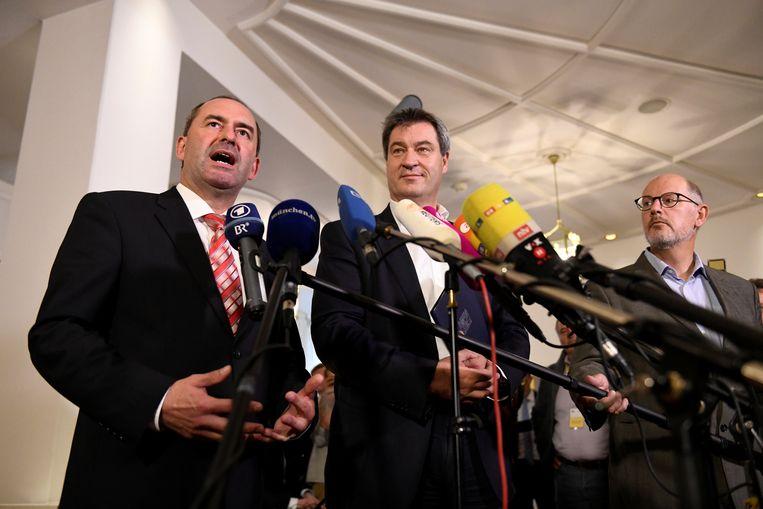 CSU-minister-president Markus Söder en FW-voorzitter Hubert Aiwanger bij het begin van de onderhandelingen midden oktober.