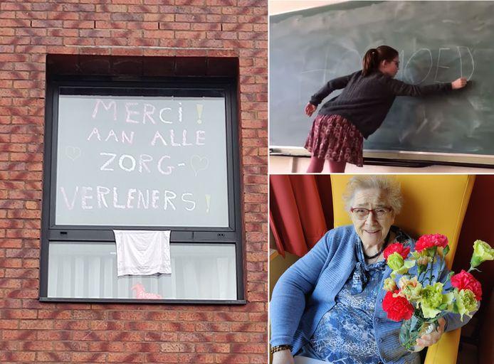 Samen tegen corona: een bemoedigende boodschap aan het raam, Aurelie (10) maakte een pakkende video en woonzorgcentrum De Groene Verte ontving 2.000 anjers.
