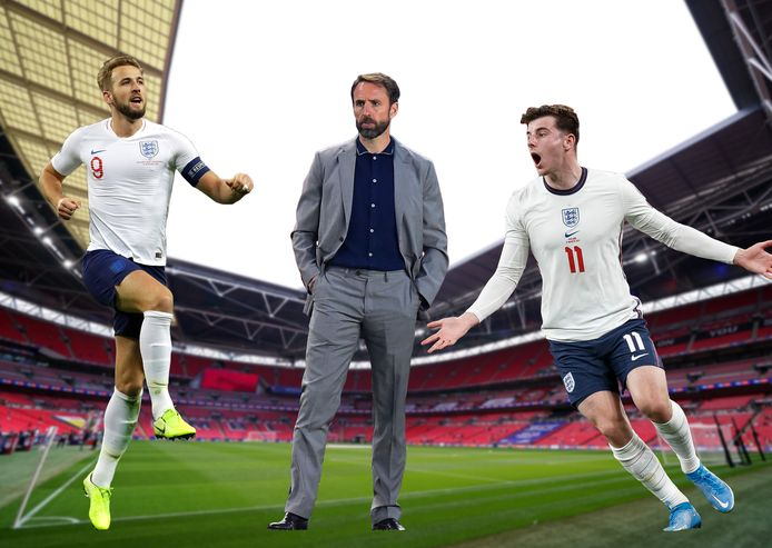 Harry Kane, bondscoach Gareth Southgate en Mason Mount.