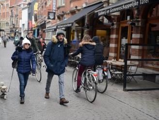 """Het conflict tussen fietsers en voetgangers wordt pijnlijk duidelijk in fietsstraat Parijsstraat. """"We zeggen niet per definitie nee tegen winkel-wandelstraat"""", zegt schepen Dessers"""