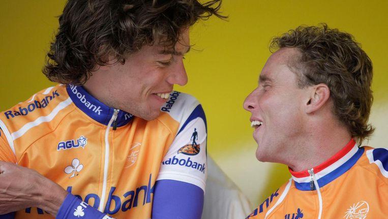 Thomas Dekker (l) en Michael Boogerd. Beide renners gebruikten Dynepo, doping die Boogerd regelde via de Sloveense atleet Bostjan Buc Beeld Cor Vos