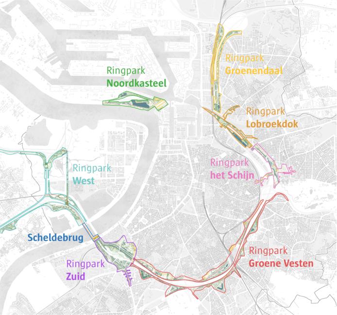 Vanaf 2030 zal Antwerpen heel wat ringparken tellen