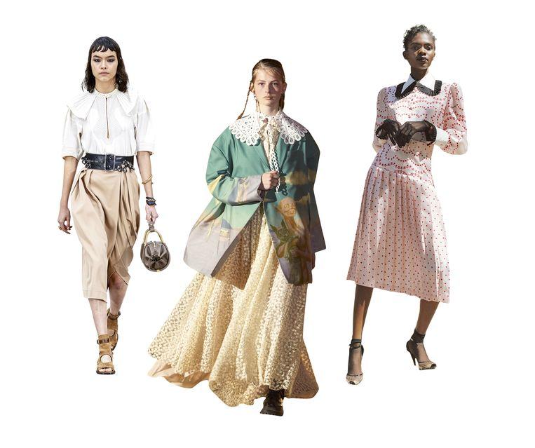 Van links naar rechts: Looks van Chloé, Rokh en Rodarte.  Beeld rv