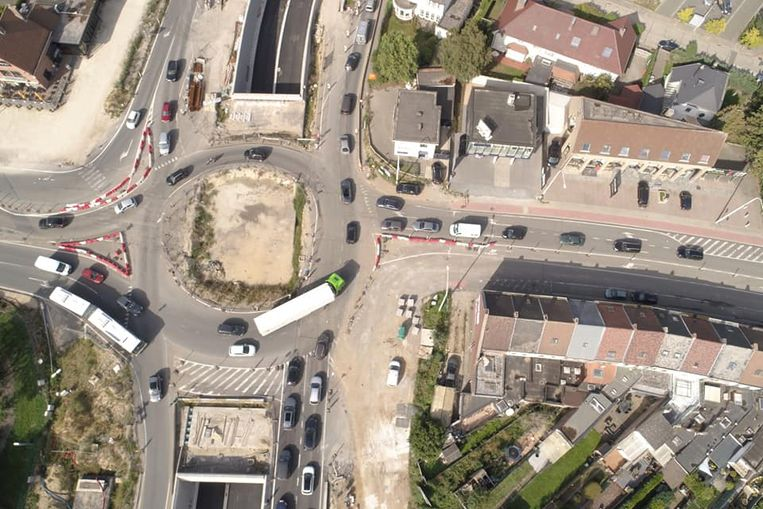 Luchtfoto die verscheen op Facebookpagina van 'Bouw tunnel Ring Aalst - R41'.